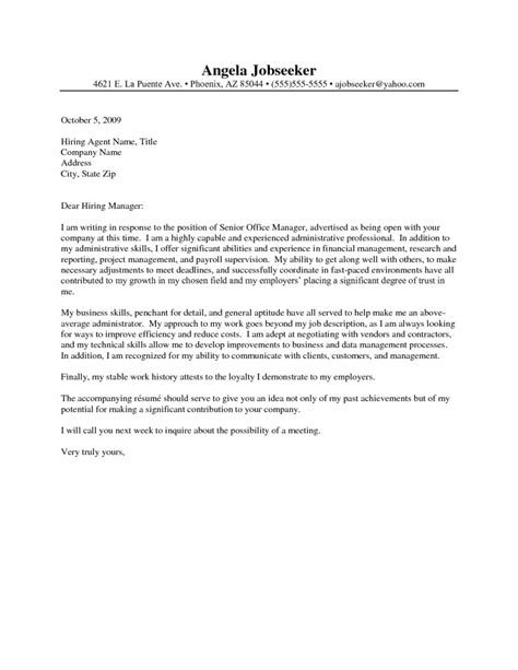 Cover Letter Exles For Admin Assistant by Cover Letter For Administrative Assistant