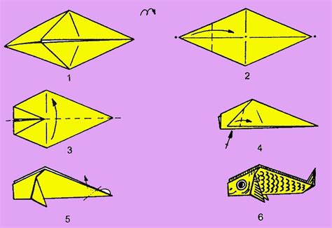 Simple Origami Fish - carp paper origami style