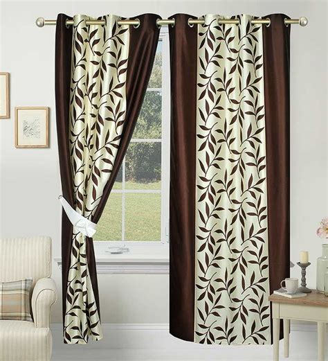 pepperfry curtains azaani polyester brown leafs eyelet door curtain by azaani