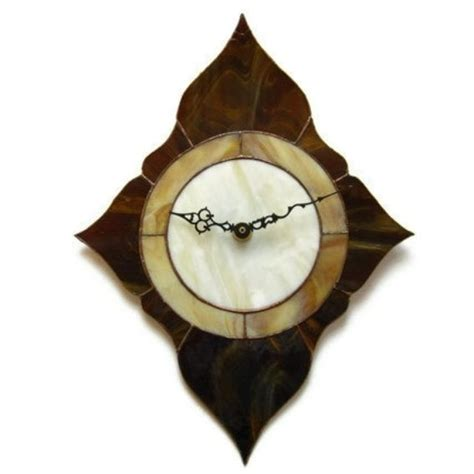 handmade stained glass diamond shaped clock by nostalgia n
