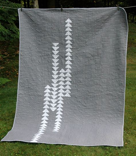 modern quilt in gray and white flying geese pattern custom