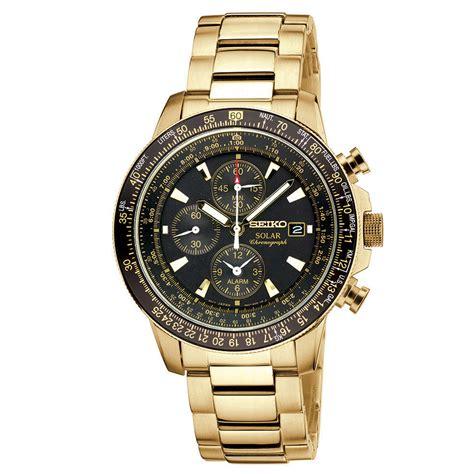 Eiko Chronograph Sks525p1 Black Two Tone Gold lyst seiko s chronograph solar aviator gold tone