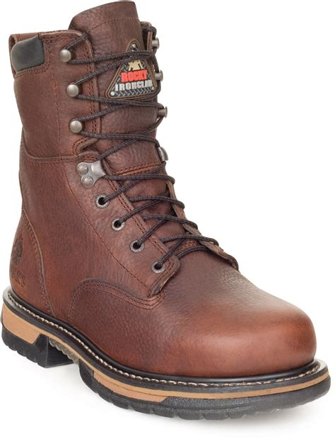 rocky boots rocky ironclad mens brown leather 8in steel toe waterproof