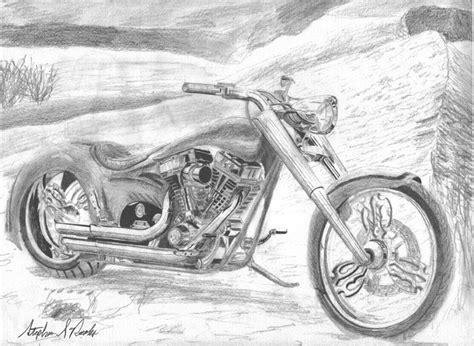 Harley Davidson Drawings by Harley Davidson Custom 2 Motorcycle Print Drawing By