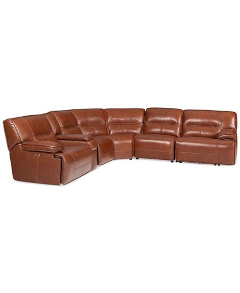 6 pc sectional sofa beckett 6 pc leather sectional sofa with 3 power recliners