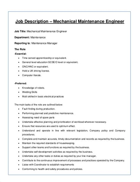 sle mechanical engineer job description 8 exles