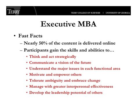 Uga Business Loan Mba by Uga Terry College Of Business Executive Programs