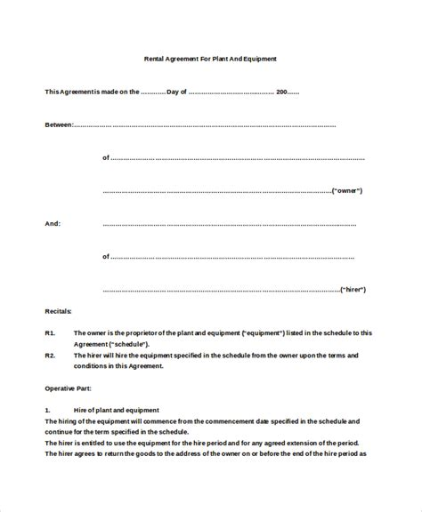 19 Basic Rental Agreement Templates Doc Pdf Free Premium Templates Simple Equipment Rental Agreement Template Free