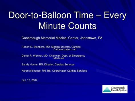 Door To Balloon Time by Ppt Door To Balloon Time Every Minute Counts