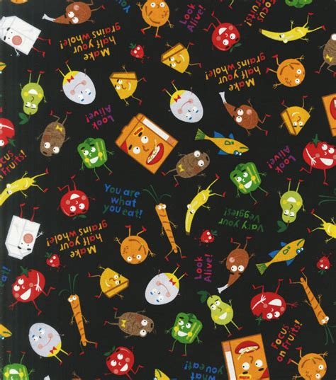Novelty Quilting Fabric by Novelty Quilt Fabric You Are What You Eat Jo