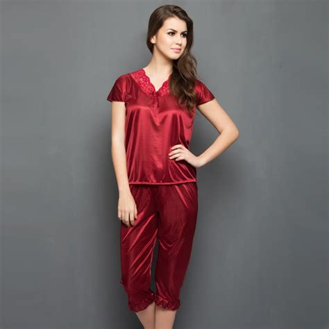 Piyama Satin Maroon suit in maroon nightwear pajamas