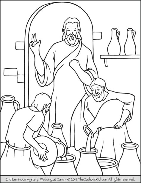 coloring pages jesus first miracle luminous mysteries rosary coloring pages the catholic kid