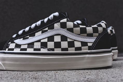 black pattern vans vans old skool 36 dx checkerboard pattern extorted