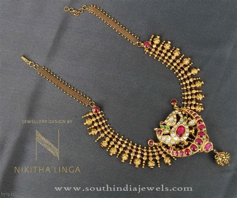 pattern of gold necklace gold short necklace pattern south india jewels