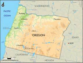 Oregon Us Map by Geographical Map Of Oregon And Oregon Geographical Maps