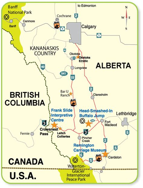 south west canada map southwestern alberta historic museums circle tour