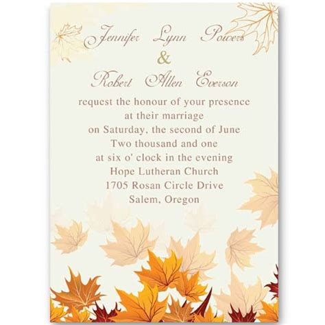 fall printable wedding invitation templates fall wedding invitation wording ideas weddingplusplus com