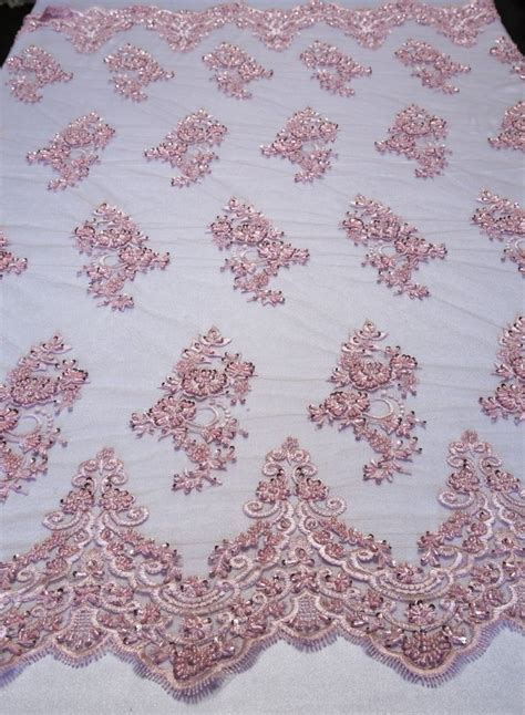 beaded fabric by the yard pink floral mesh w embroidery beaded lace fabric