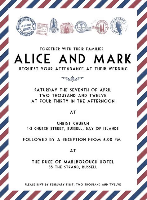 Air Mail Travel Wedding Invitation Template Graphic Customisable 20 00 Via Etsy Some Marriage Invitation Mail Template
