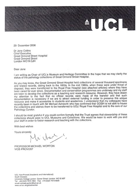 Offer Letter Ucl letter from professor michael worton to dr collins