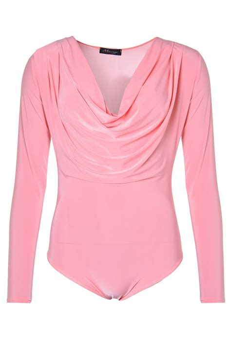 light pink cowl neck sweater karly cowl neck bodysuit in light pink iclothing