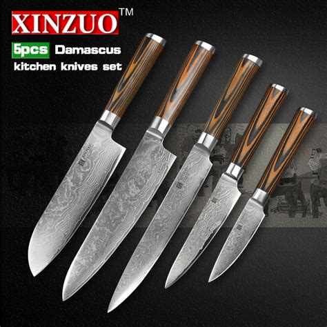 best wholesale kitchen knives set damascus steel kitchen 5 pcs kitchen knife set 73 layer japanese vg10 damascus