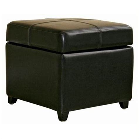 leather square storage ottoman pemberly row square leather storage ottoman in black pr