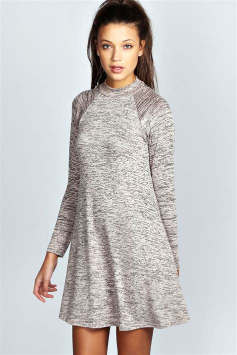 knit swing dress boohoo lucinda slub knit high neck swing dress ebay