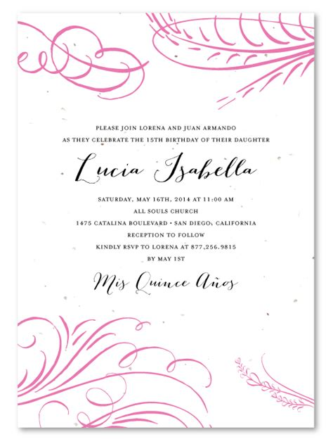 quince invitation templates quince program wording sles quotes