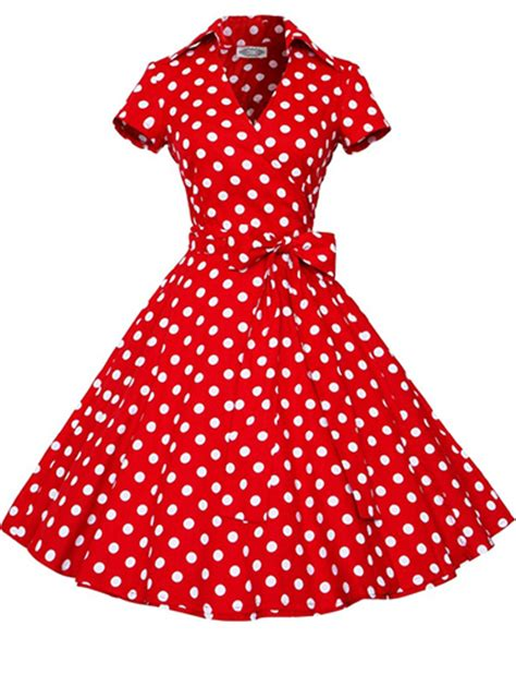 Dotted Sleeve A Line Dress vintage dress white polka dotted