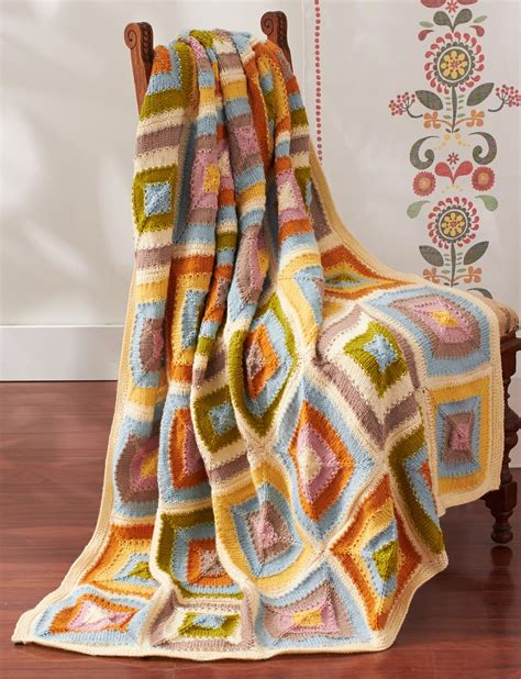 Free Knitted Patchwork Blanket Patterns - patons patchwork blanket knit pattern yarnspirations