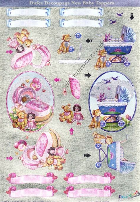 Baby Decoupage - baby toppers die cut 3d decoupage pack from dufex