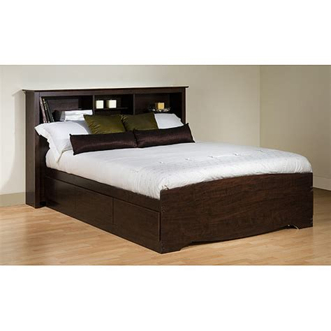 Bed With Headboard Storage Prepac Edenvale Platform Storage Bed With Headboard Espresso Walmart