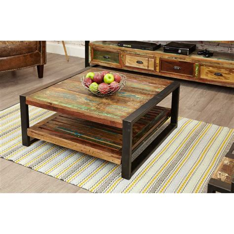 large cm rustic square coffee table recycled reclaimed