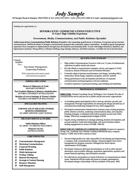 Resume Exles For Communications Assistant Principal Resumes Senior Level Communications Executives Resume Sle R 233 Sum 233 S