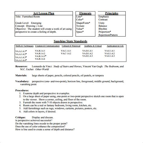 lesson plan template for elementary elementary lesson plan template 11 free sle exle