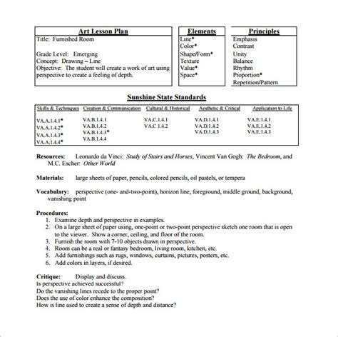 Elementary Art Lesson Plan Template Un Mission Resume And