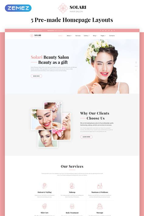 Solari Beauty Salon Html5 Website Template Tanning Salon Website Templates