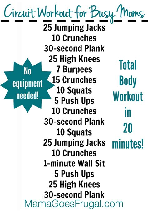 20 minute at home workout for busy with free printable