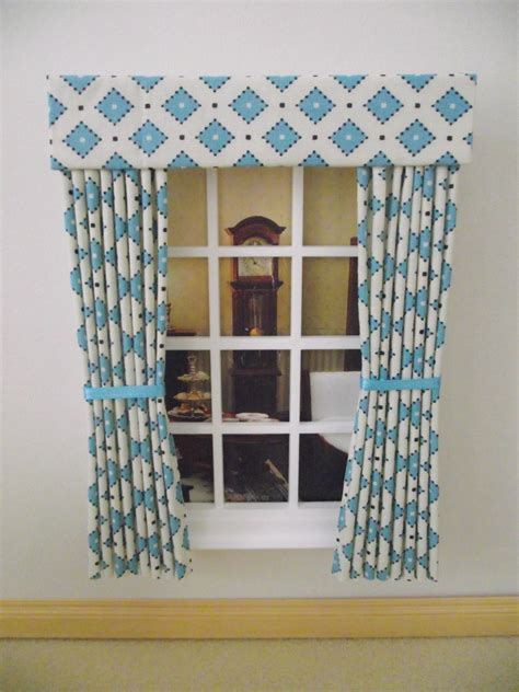turquoise and cream curtains miniature dolls house curtains drapes 12cm wide 4 3 4in