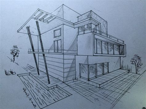 Drawing 2 Point Perspective From Plan by Perspective House Drawing At Getdrawings Free For