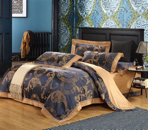 4pcs blue luxury bedding set king size jacquard
