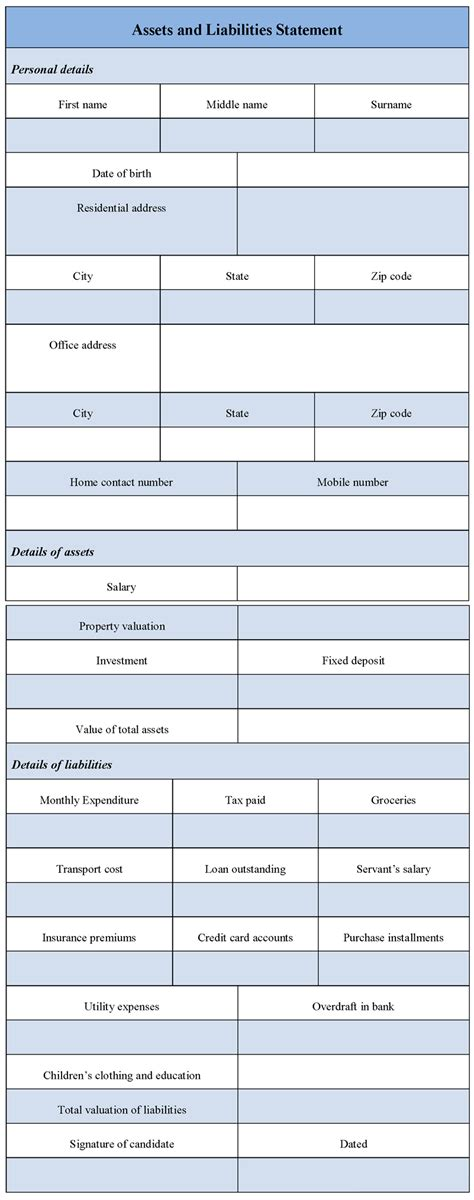 asset statement template assets and liabilities worksheet excel lesupercoin