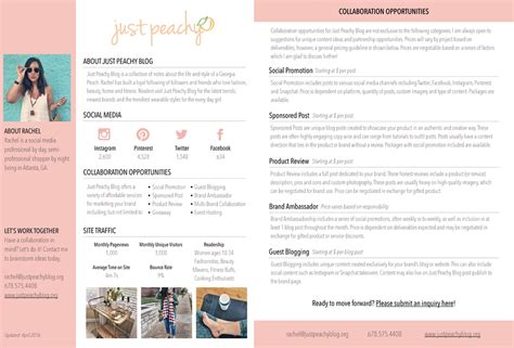 author media kit template tips media kit just peachy