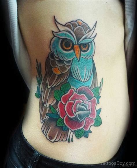 owl rose tattoo 47 mind blowing owl tattoos on rib