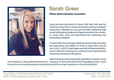 sle of biography greer office administration assistant largest real estate sales and property management