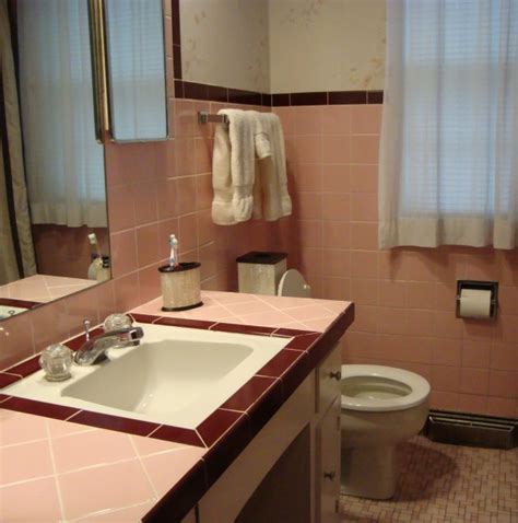 How To Remove Tile Paint From Bathroom Tiles by Replacing Just The Vanity Fiftiesbathroom Bathroom