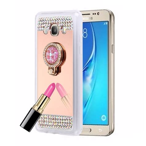 Silico Siamond Mirror Samsung J7 for samsung galaxy j7 2016 j710 encrusted electroplating mirror protective cover