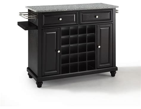 Granite Top Bar Cabinet Crosley Furniture Cambridge Solid Granite Top Wine Island In Black Traditional Wine And Bar