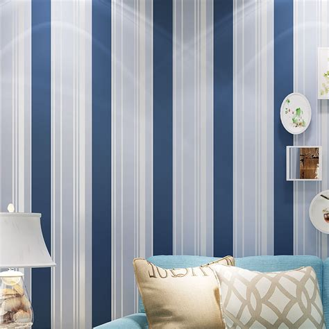 blue white striped mediterranean style  woven wallpaper modern simple living room bedroom tv